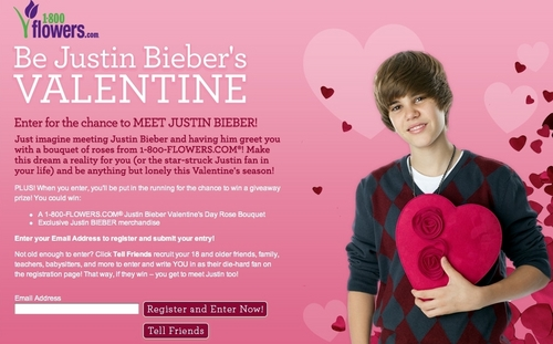 want to be justin bieber's valetine in 2010