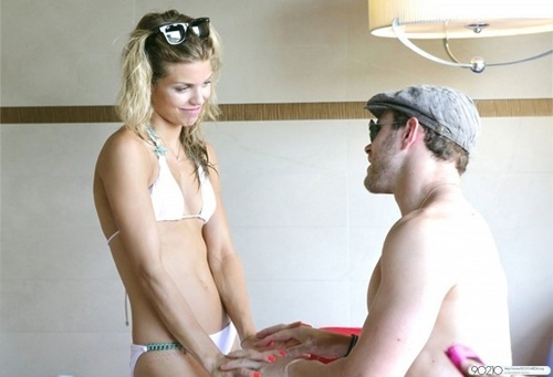 Annalynne Mccord and Kellan Lutz are seen being affectionate - annalynne-mccord Photo
