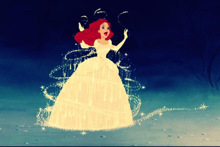 Ariel in Cinderella's dress
