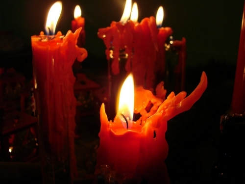 Candles Colored Red
