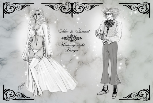 Alice in Wonderland (2010) wallpaper entitled Fanfiction Chara-Design - [Spoiler!] *~* wedding night style *~* AliceXMadHatter-Lineart