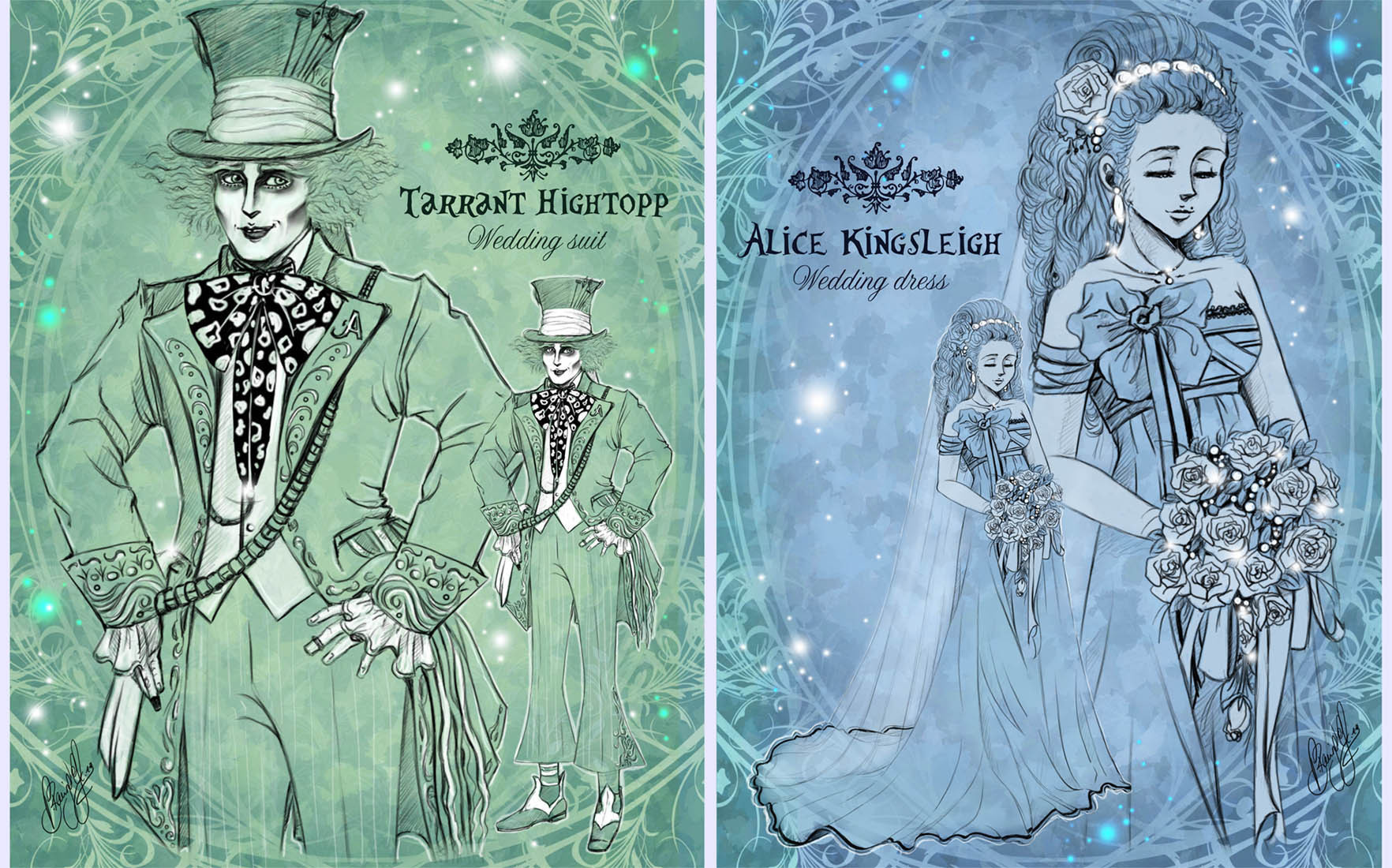 Fanfiction Chara-Design - [Spoiler!] *~* Weddingstyle *~* AliceXMadHatter-Lineart