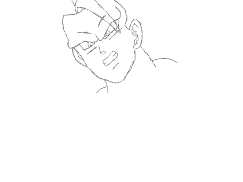 How to draw Goku SSJ3 in MS Paint Step 1