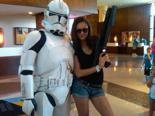Nina Dobrev wallpaper called Nina Dobrev & A Storm Trooper - Comic Con '10