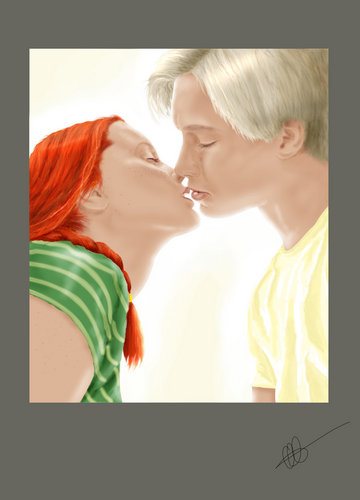 Draco and Ginny achtergrond titled kiss my lips