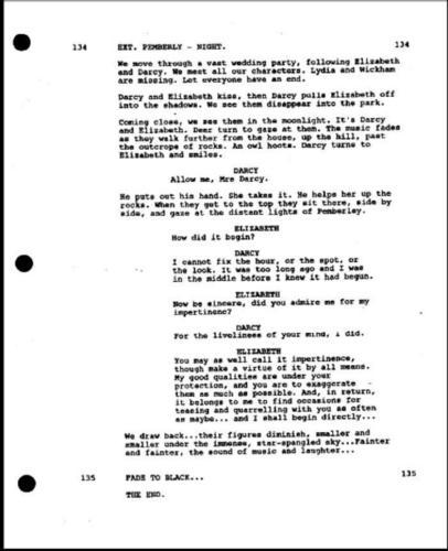 Pride and Prejudice wallpaper entitled original final script page