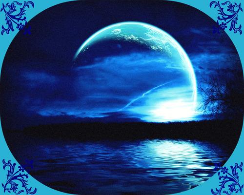Blue abstract lake karatasi la kupamba ukuta
