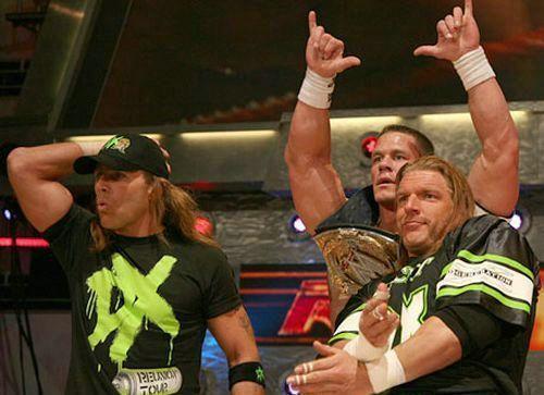 John Cena with HHH and HBK