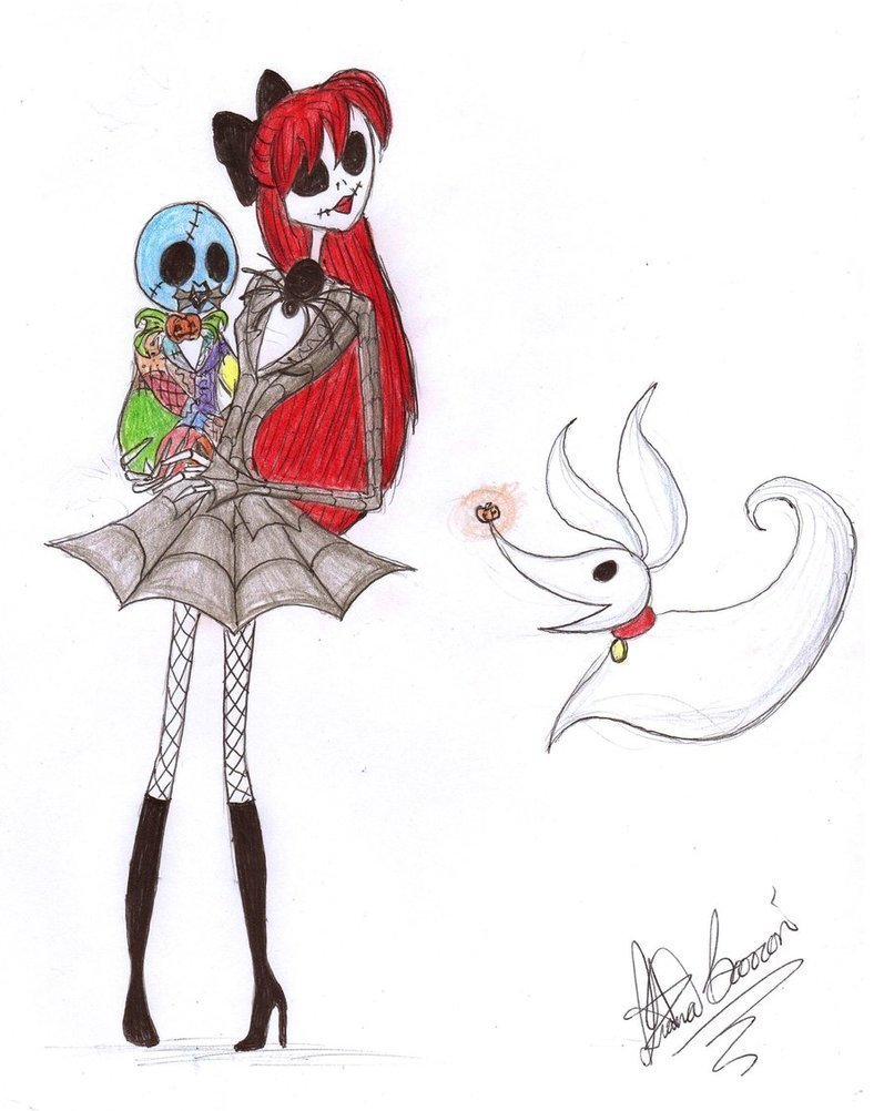 Jack Skellington Judy, baby Justin, and Zero