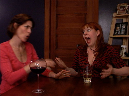 Reamy Hall & Kirsten Vangsness goofing around between takes.