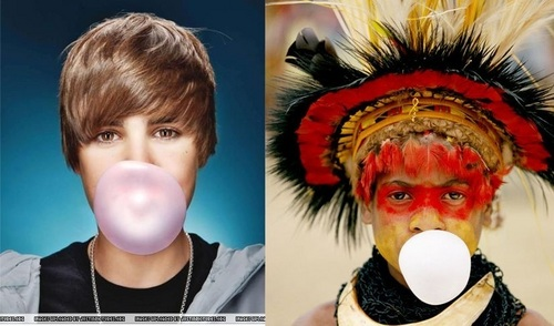 Justin Bieber wallpaper titled SPOT THE DIFFERENCES!! haha