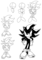 how to draw shadow the hedgehog