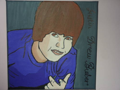 my canvas of justin bieber i made for art