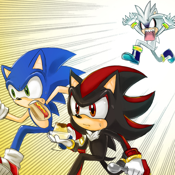 sonic and shadow steal silvers pudding!! xD - silver-the-hedgehog photo