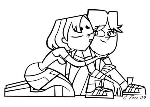Cody and Gwen line art