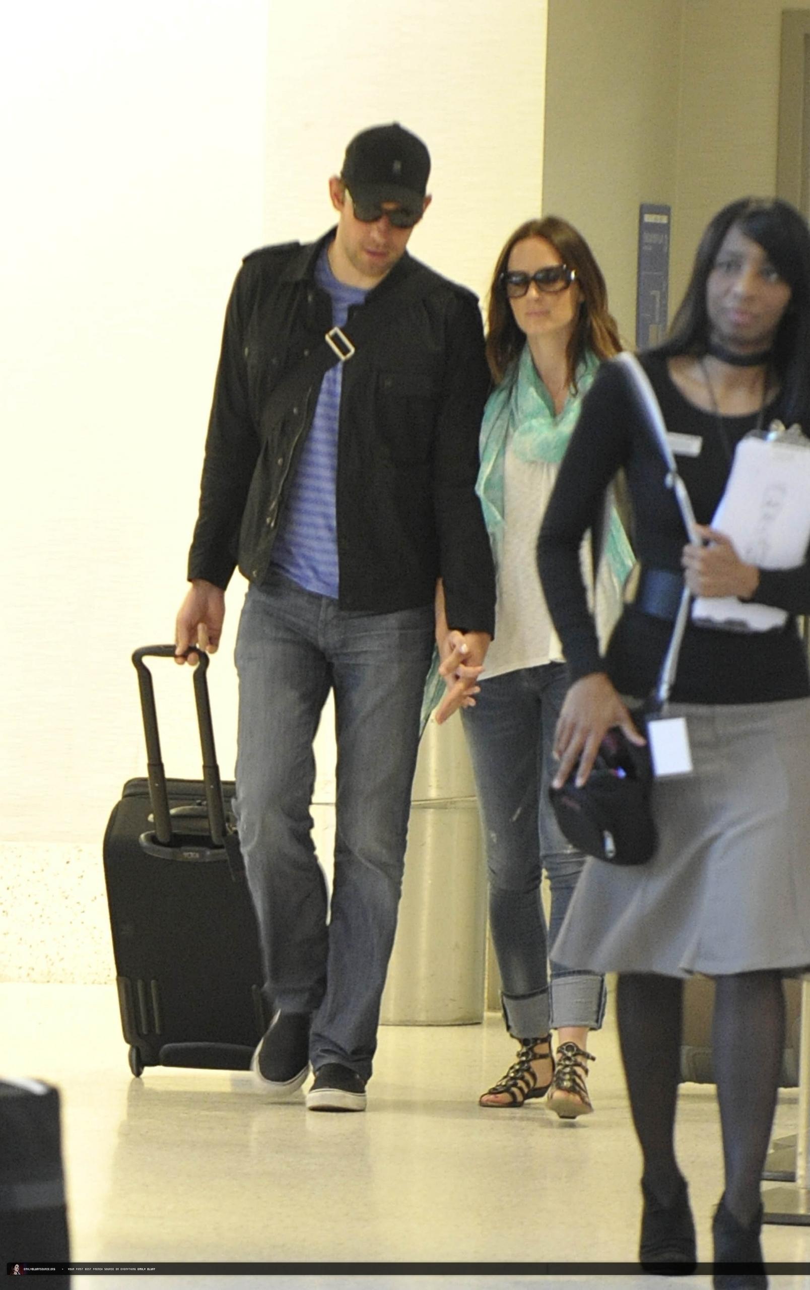 Emily Blunt and John Krasinski at LAX Airport (July 12)