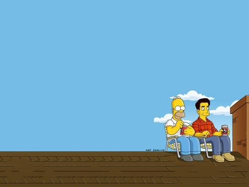 Homer on the roof with 레이
