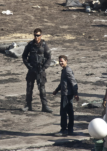 Josh & Shia on set Transformers 3