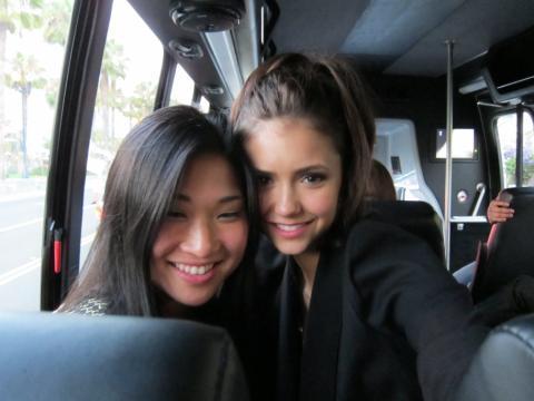 Glee wallpaper titled Nina Dobrev and Jenna Ushkowitz at Comic Con Twitpic