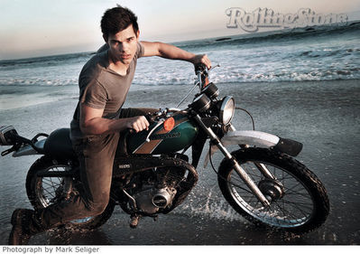 Taylor Lautner on Motorcycle