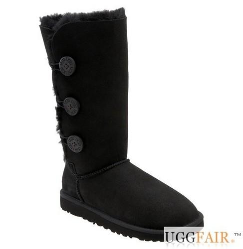 Black Bailey Button Triplet UGG Boots UggFair.com