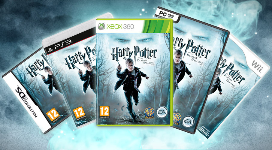 Harry Potter and the Deathly Hallows Nintendo, PS3, XBOX, DVD, and Wii covers.