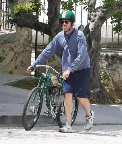 Hugh Laurie- Riding his motorcycle in Hollywood Hills, August 1st