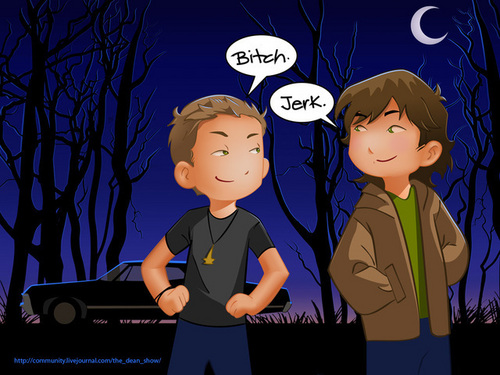 Supernatural wallpaper called Sam and dean cartoon