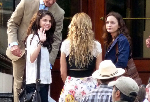 Selena Gomez and Leighton Meester Film Outside the Hotel de Paris