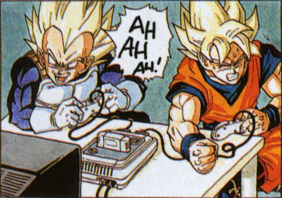 गोकु and vegeta playing video games