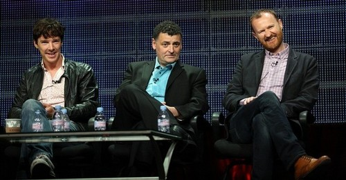 Benedict with Steven Moffat and Mark Gatiss