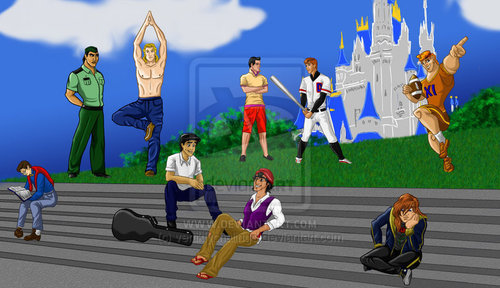 Disney Prince karatasi la kupamba ukuta titled Disney Princes at School