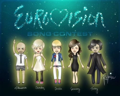Eurovision Song Contest দেওয়ালপত্র entitled Eurovision doodles