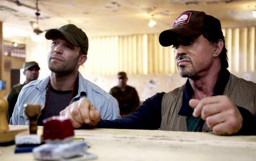 Jason Statham and Sylvester Stallone in The Expendables