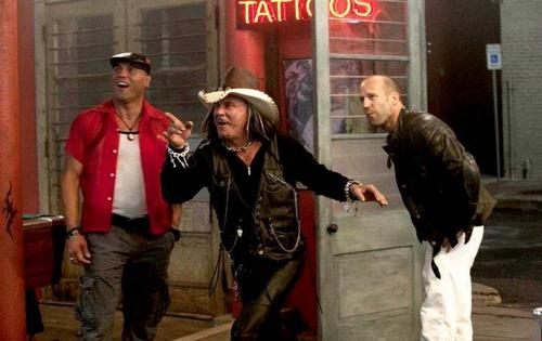 Randy Couture, Mickey Rourke and Jason Statham in The Expendables