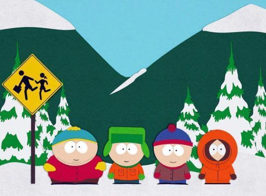 South Park Kids at the Bus Stop