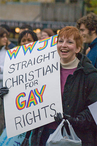 LGBT 바탕화면 entitled Straight and Christian for Gay Rights