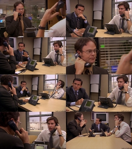 Dwight and Jim practice calling
