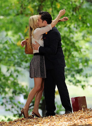 Ed Westwick & Clemence Poesy on Set, August 10, 2010