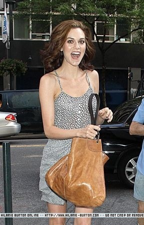 Hilarie burton Arriving at the PIX11 Morning News