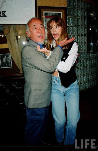 Hilary Swank and Pat Morita in 1993