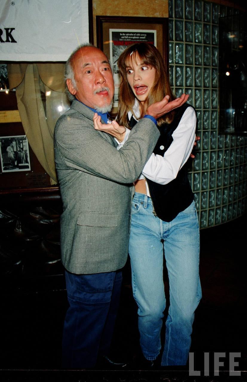 Hilary Swank and Pat Morita in 1993