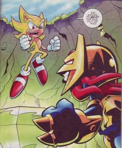 Knuckles/Enerjak vs Super Sonic