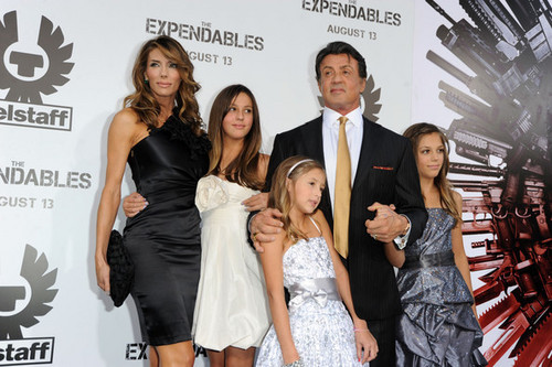 Sylvester Stallone with his wife and kids