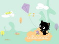 Chcocat and his kite - chococat wallpaper