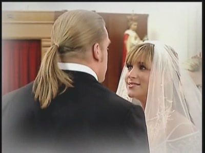 Triple H and Stephanie Mcmahon wallpaper probably containing a portrait called Real-Life Wedding Pictures