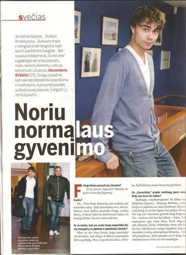 "Alex in Lithuanian magazine ""People"""