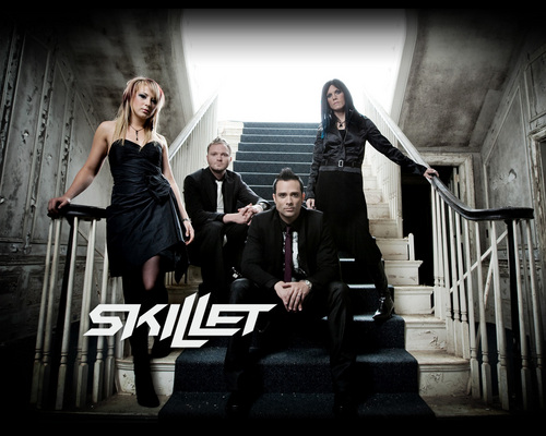 Skillet wallpaper probably containing a bannister, a business suit, and a well dressed person entitled Awake Band Wallpaper