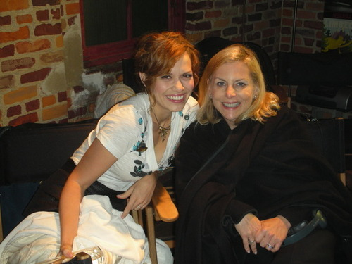 CW President Dawn Ostroff with Cast member Bethany Joy Galeotti visiting the set of OTH today