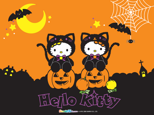 Hello Kitty wallpaper probably with a sign and anime entitled Hello Kitty Halloween Wallpaper